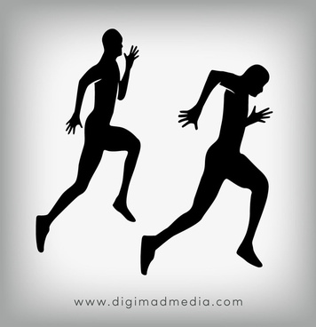 runners silhouette vector design