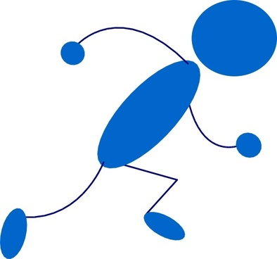 Running Blue Stick Man clip art