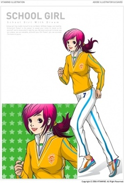 running female students vector