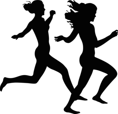 running girl design vector silhouettes graphics