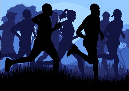 running sports silhouettes vector