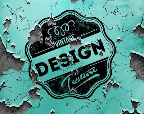 rupture wall with vintage labels vector