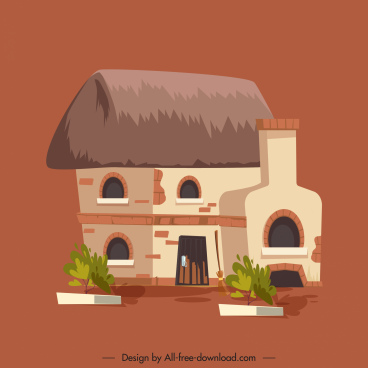rural house icon colored classic sketch