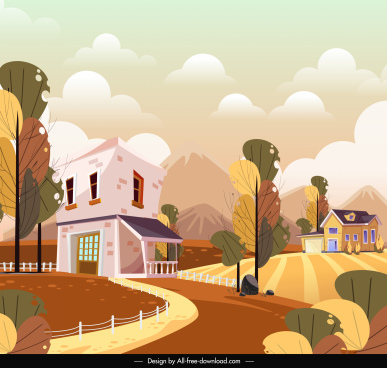 rural landscape background field houses sketch colorful classic