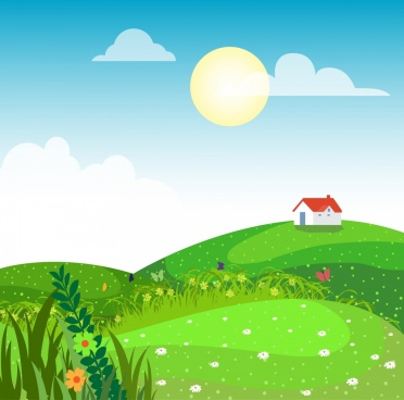 rural landscape drawing green hill grass cottage icons