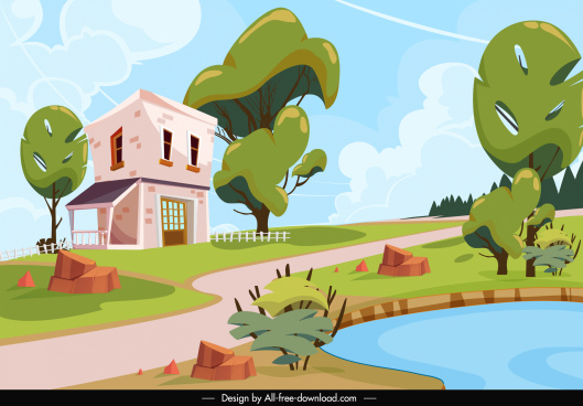 rural landscape painting bright colorful house trees sketch