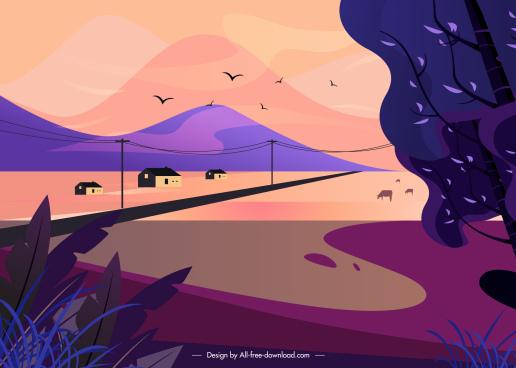 rural landscape painting dark colorful classical design
