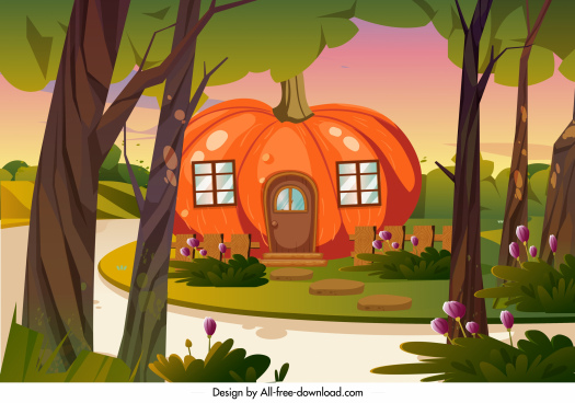 rural residential landscape painting pumpkin house cartoon sketch