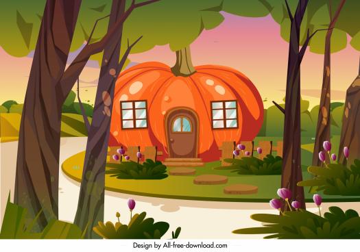 rural residential landscape painting pumpkin house cartoon sketch