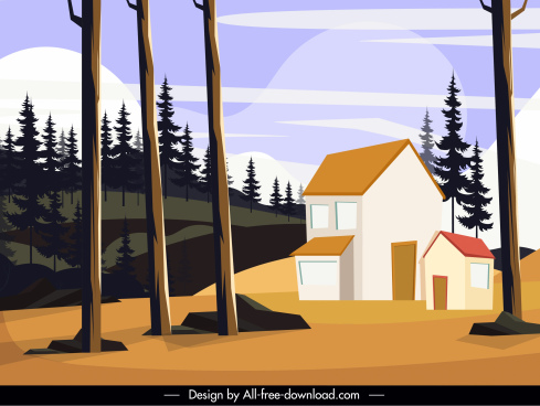 rural scene painting house hill trees sketch