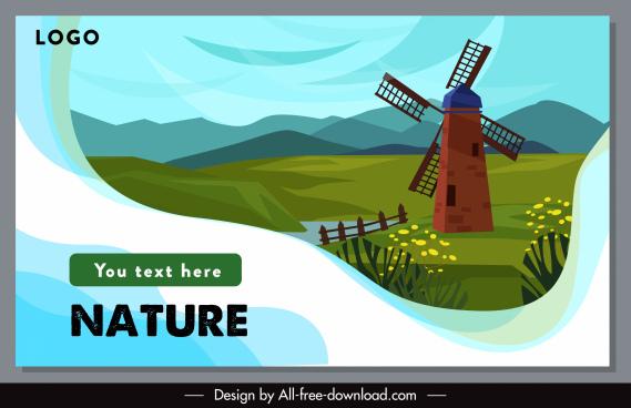 rural scenery banner windmill field sketch