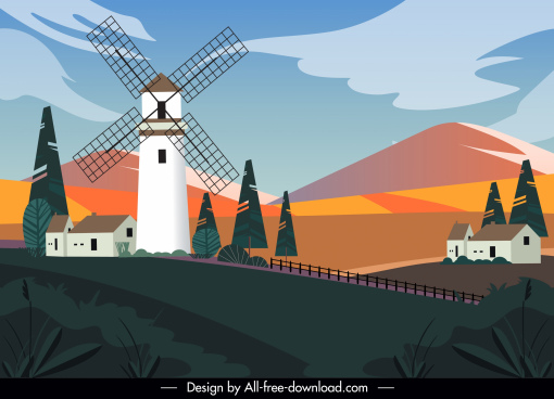 rural scenery painting colorful contrast design