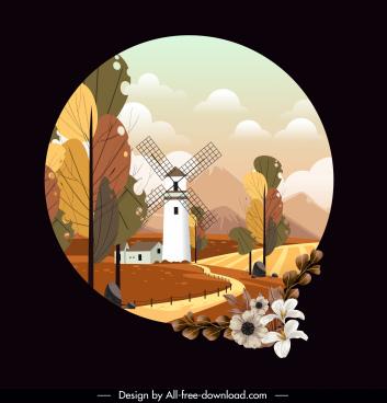 rural scenery painting elegant bright classic circle isolation