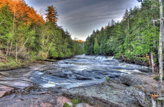 rushing river scenery at porcupine mountains state park michigan