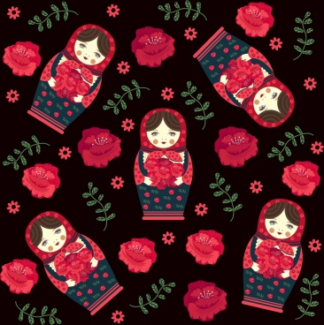 russia background traditional doll roses icons repeating design