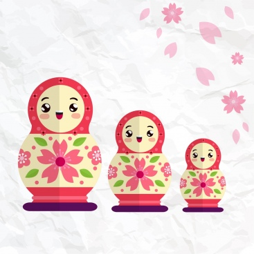 russian dolls background colorful sizes smiling icons