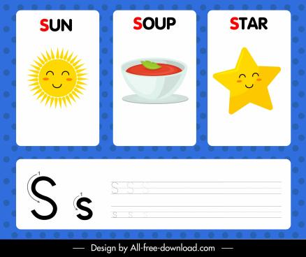 s alphabet study template sun soup star icons