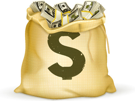 Sack with money design vector graphics set