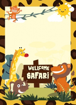 safari advertising banner animals icons colorful cartoon characters