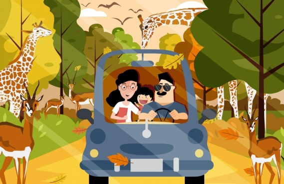 safari painting family car animals icons cartoon characters