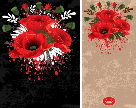 flowers background templates classical dark colored grunge decor