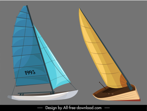 sail boat icons colored 3d sketch