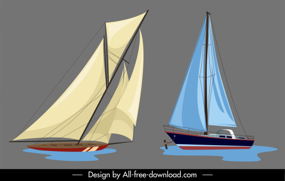 sail boat templates colored modern classic sketch