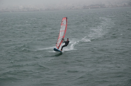 sailboarder in sf bay