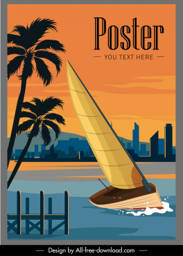 sailboat advertising poster colorful modern sketch