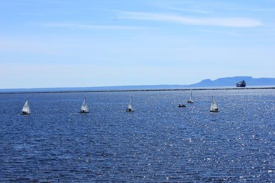 sailboats on the lake in thunder bay ontario canada