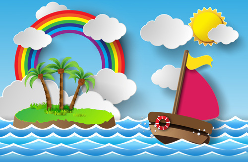 sailing boat with marine cartoon vectors