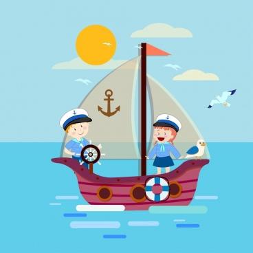 sailor background children ship icons colored cartoon design