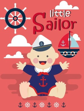 sailor background cute kid steering wheel anchor icons