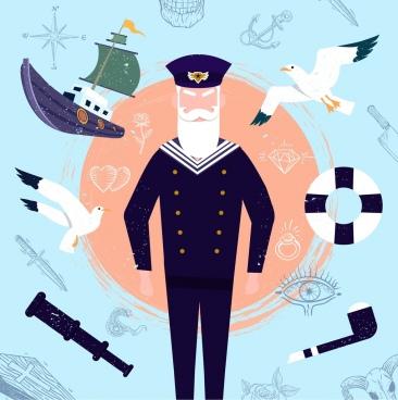 sailor design elements pilot ship seabirds binoculars icons