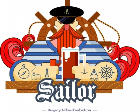 sailor icon classical colored flat design