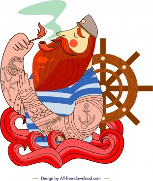 sailor icon smoking moustache man sketch classical design