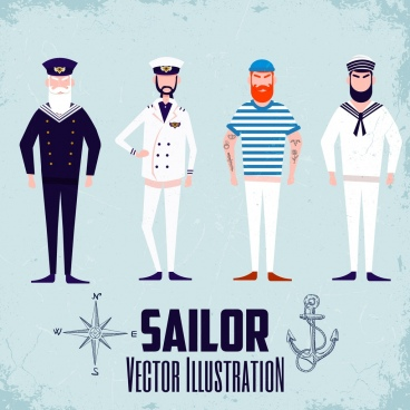 sailor icons collection bearded men cartoon characters