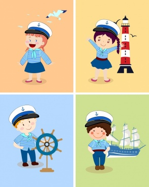sailor icons collection cute kid colored cartoon character