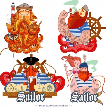 sailor icons colorful classical design