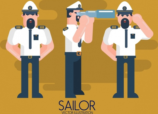 sailor icons standing gestures colored cartoon character