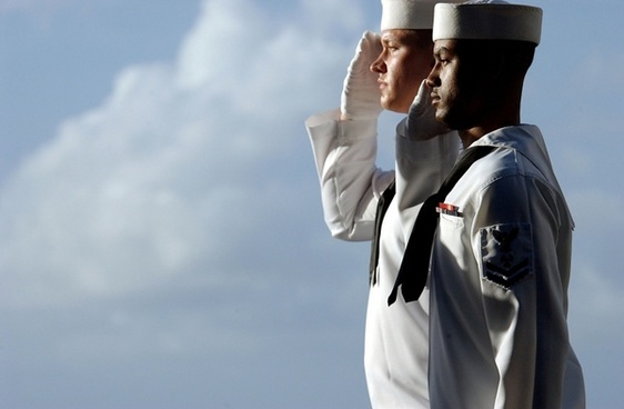 sailors saluting isolated