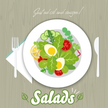 salad advertising multicolored flat design various vegetable icons