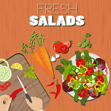 salad advertising vegetable ingredient icons food preparation background