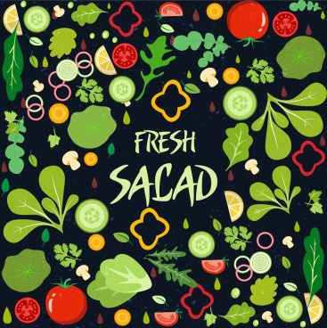 salad background fresh vegetable icon multicolored design