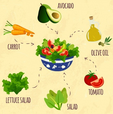 salad design elements fresh vegetable icons decor