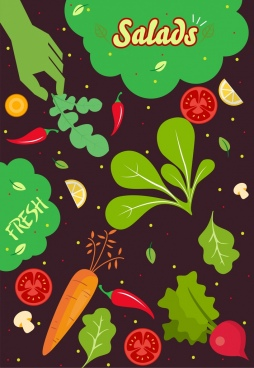 salad ingredients background multicolored vegetable icons dark design