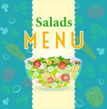 salad menu cover template vegetables bowl icons