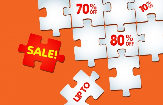 sale background flat puzzle joints icons decoration