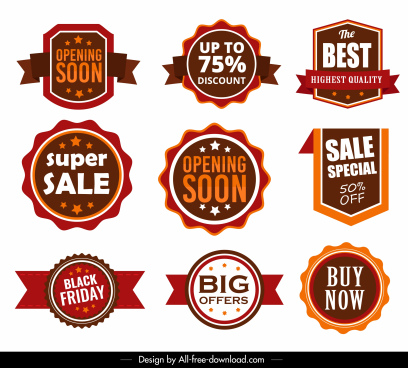 sale badges templates modern colored shapes design