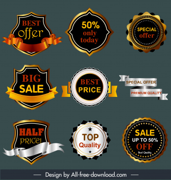 sale badges templates modern design elegant shapes decor